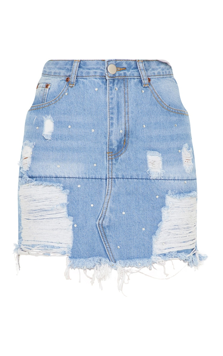 Mid Wash  Ripped Denim Skirt 3