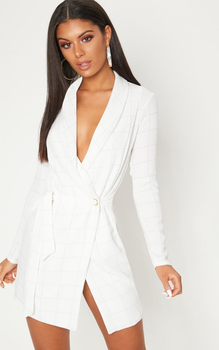 White Checked Long Sleeve Blazer Dress 1