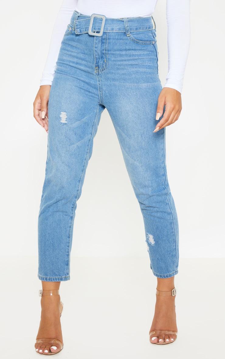 Petite Light Wash Belt Detail Distressed Straight Leg Jeans 2