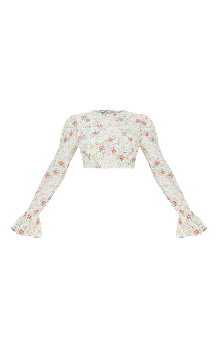 Light Pink Floral Printed Woven Flared Hem Sleeve Crop Top 5