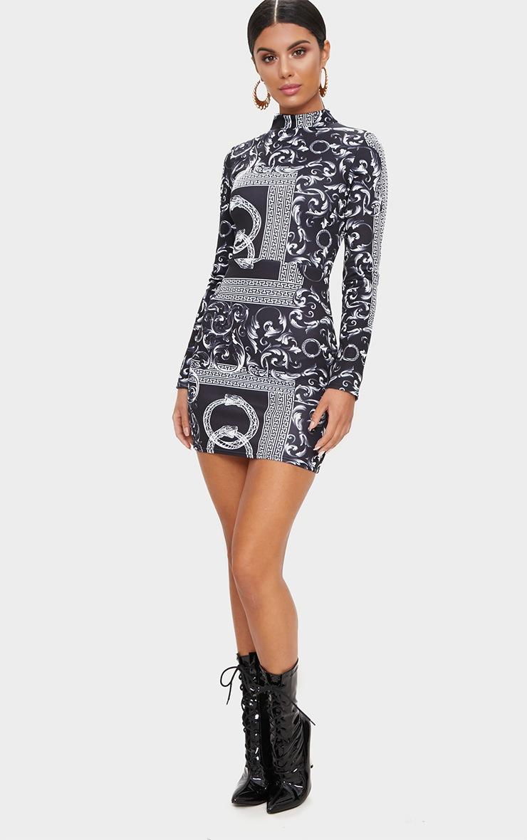 Black long sleeve high neck bodycon dress