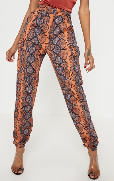 Burnt Orange Snake Print Cargo Trouser