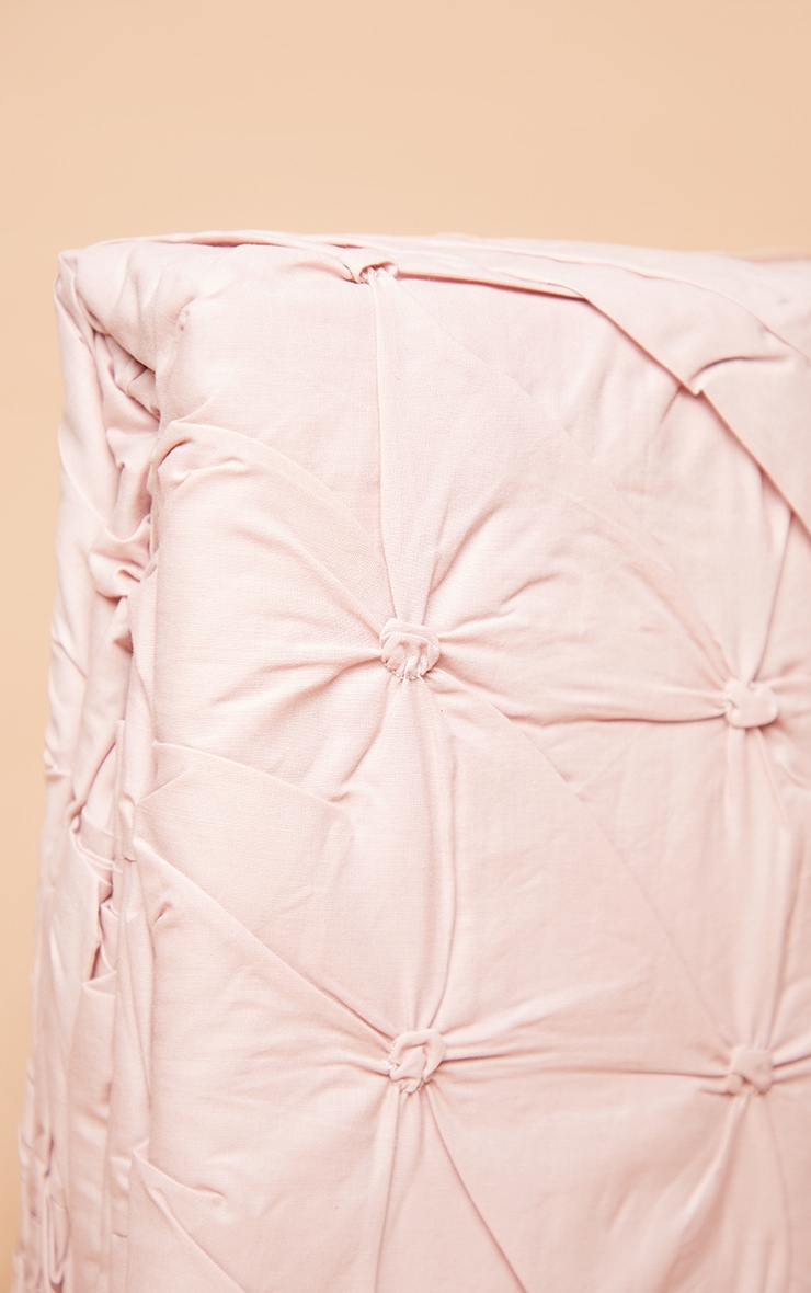 Dusty Pink Ruched Pin Tuck Super King Duvet Set 4