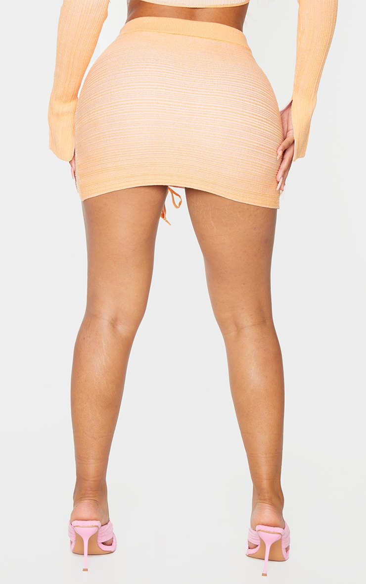 Shape Peach Contrast Knit Ruched Front Bodycon Skirt 3