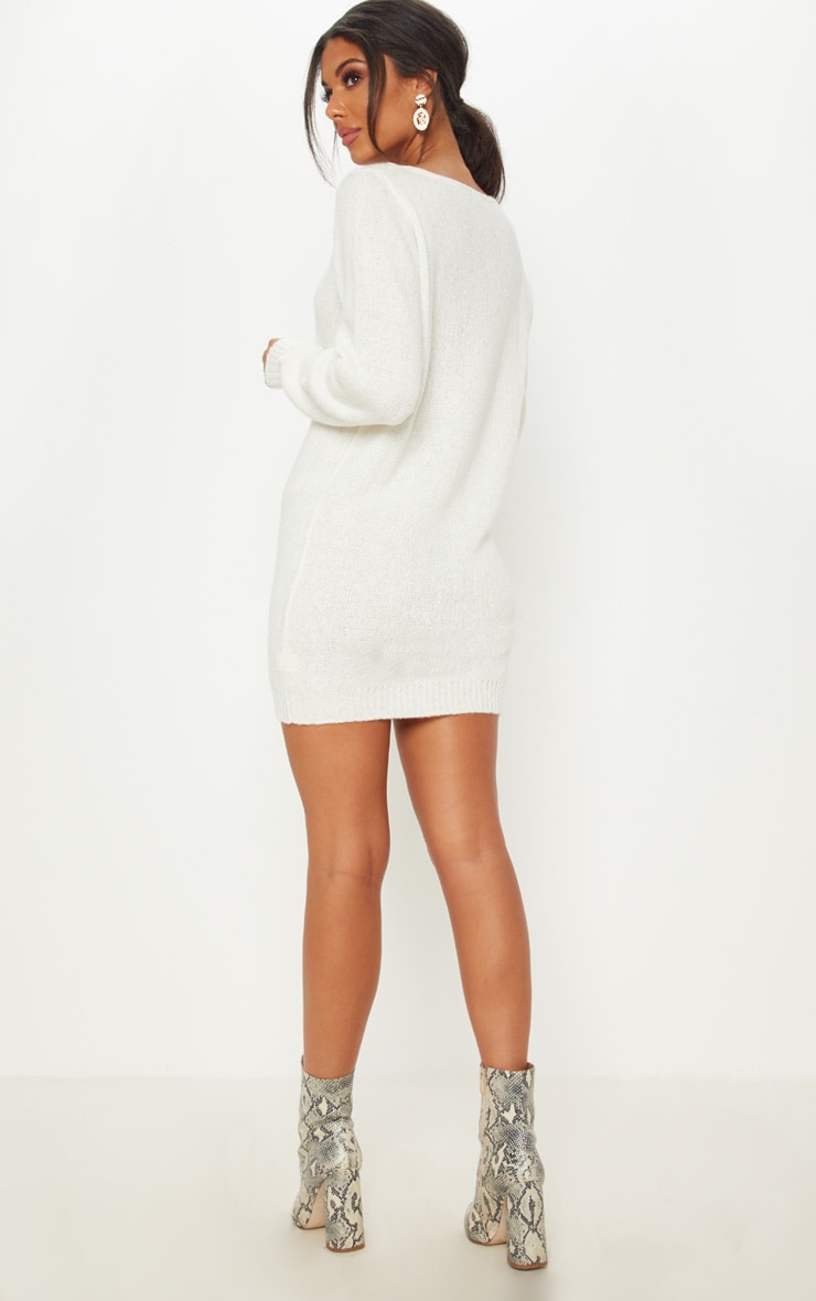 Teylie Cream Soft Knitted Off Shoulder Mini Dress 2