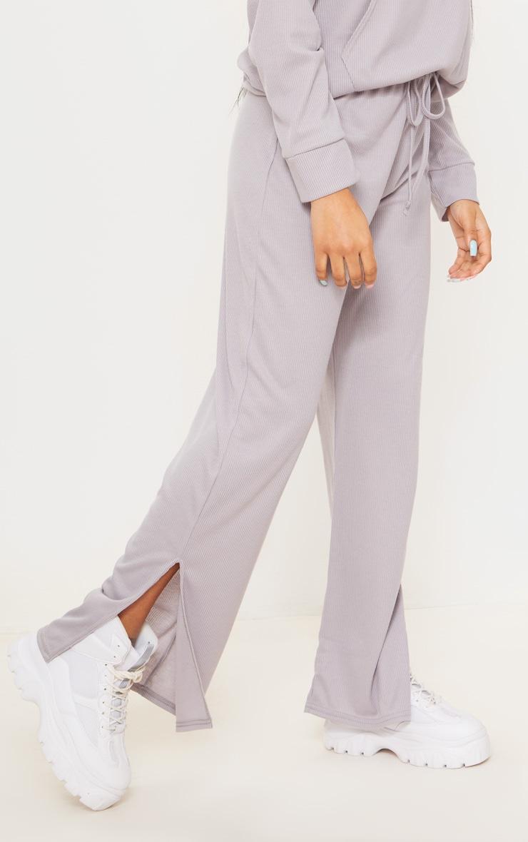Petite Grey Ribbed Split Hem Flared Pants 2