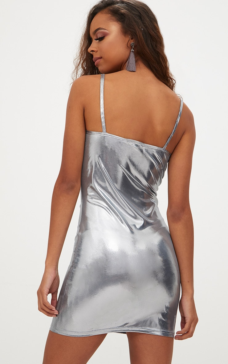 Petite Silver Square Neck Metallic Mini Dress 2