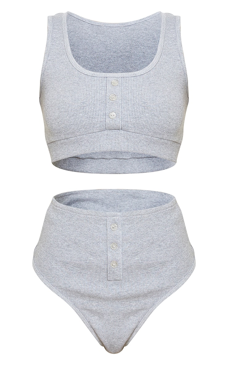 Petite Grey Ribbed Button Up Crop Top and Panties Set 5