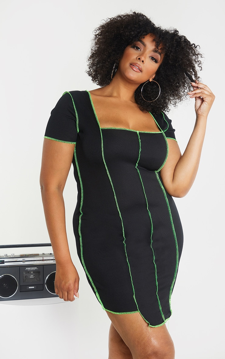 Plus Black Rib Overlocked Bodycon Dress 1