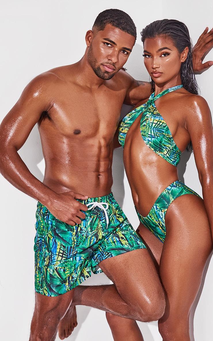 Green Tropical Printed Mid Length Swim Shorts 4