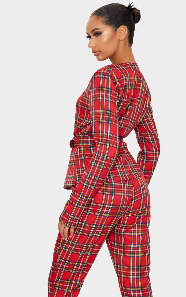 Red Tartan Printed Buckle Belted Blazer 2