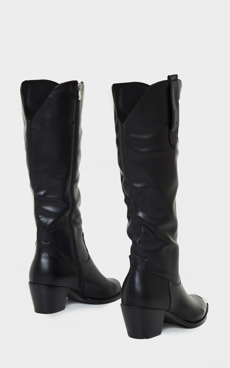 Black Metal Toe Calf Western Boot 3