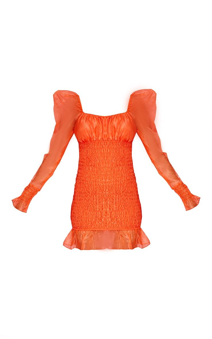 Neon Orange Organza Shirred Puff Sleeve Bodycon Dress 5