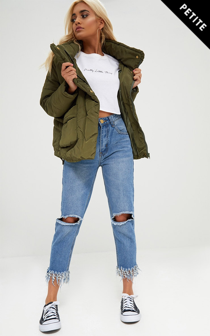 Petite Khaki Cropped Puffer Jacket with Front Pockets 1