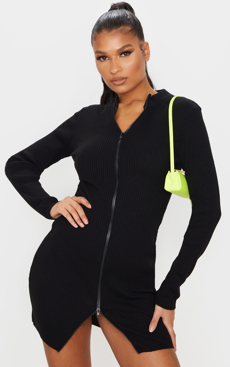 Black Double Ended Zip Knitted Dress 1