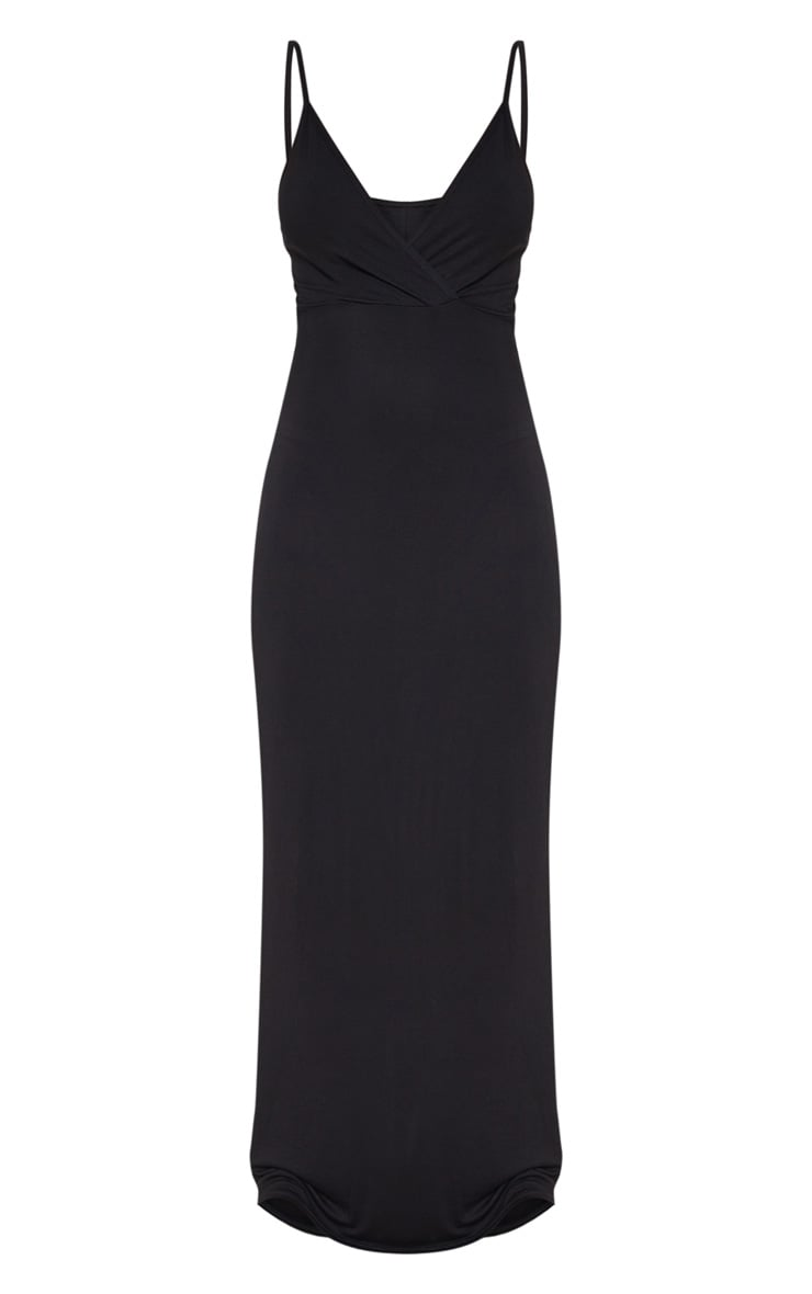 Black Jersey Plunge Strappy Maxi Dress 3