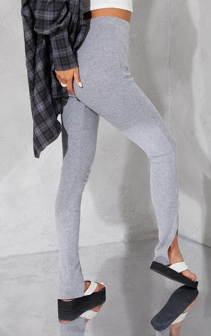 Grey Brushed Rib Split Hem Leggings 3
