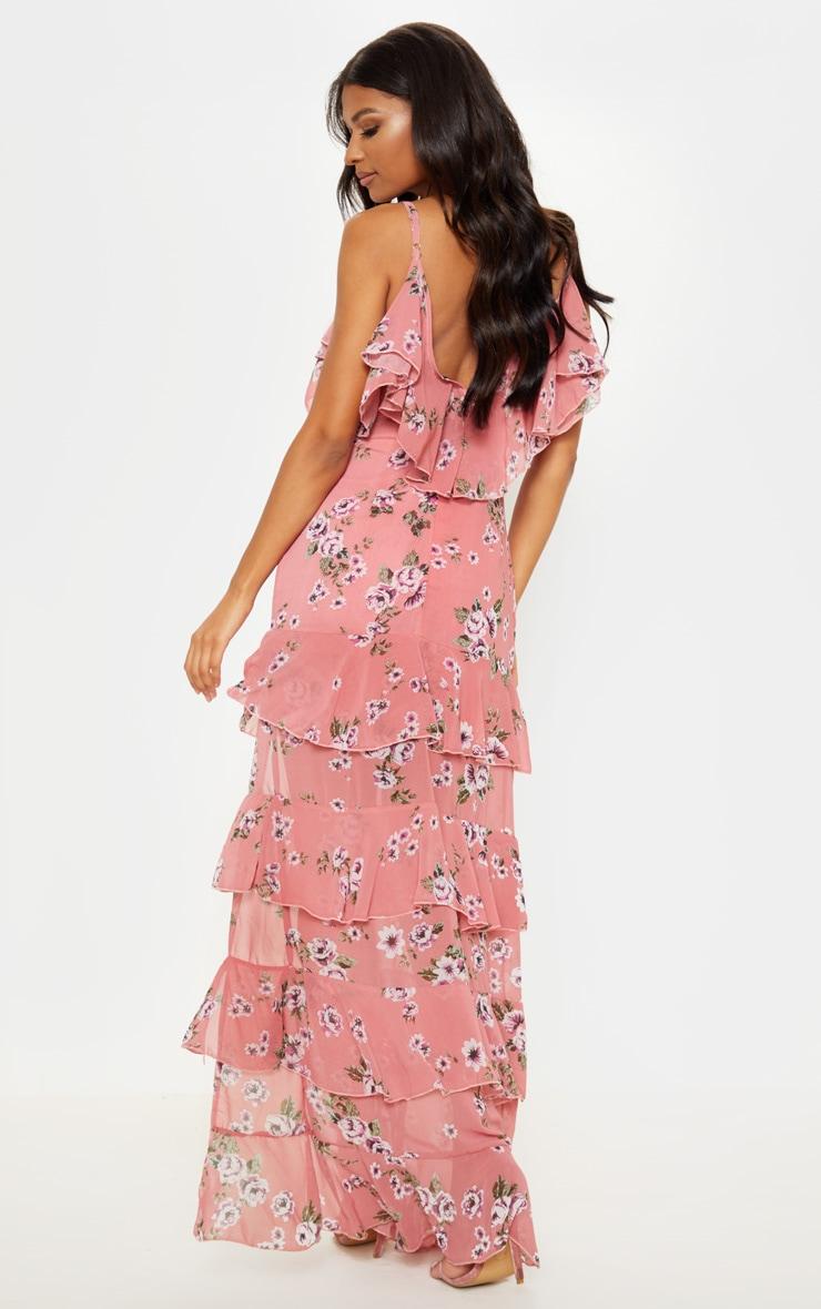 Robe longue rose imprimée à volants et fente sur le côté 2