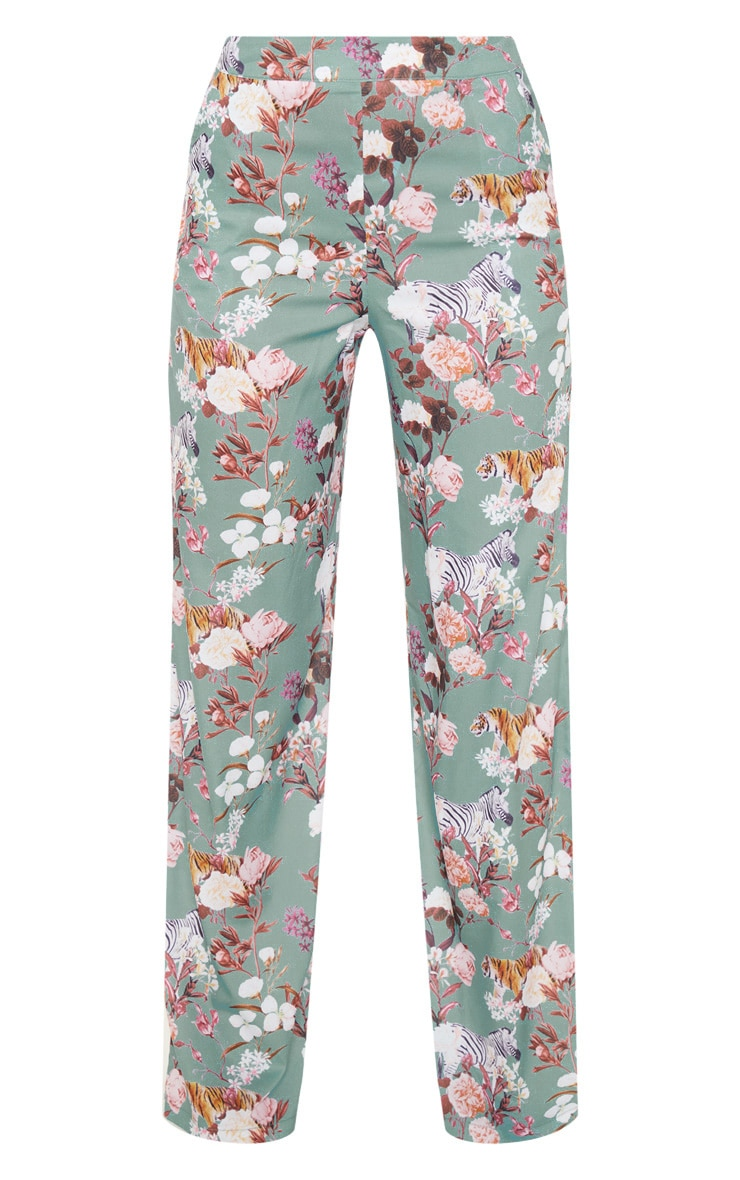 Sage Green Floral Print High Waisted Wide Leg Pants 3