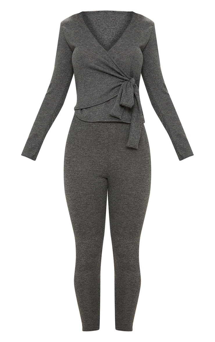 Charcoal Wrapover Knitted Co Ord Set 3