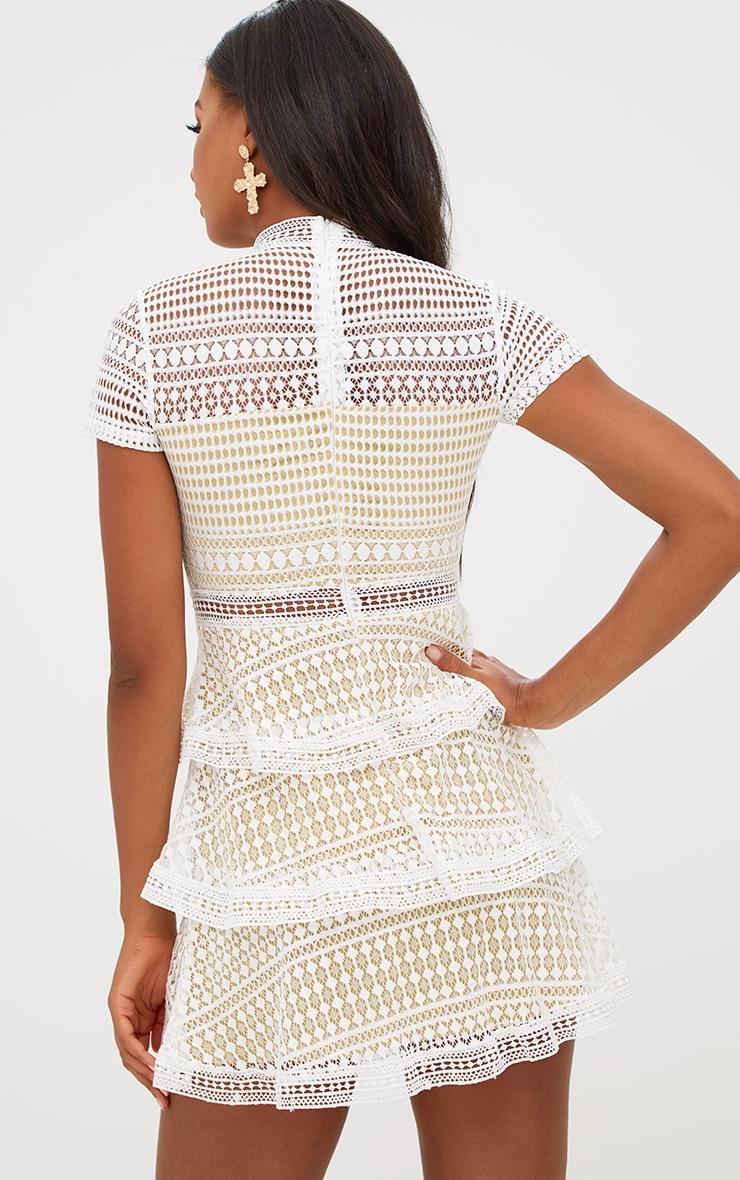 White Lace High Neck Skater Dress 2