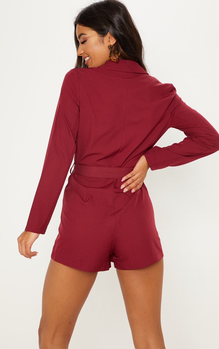 Burgundy Wrap Over Blazer Romper 2