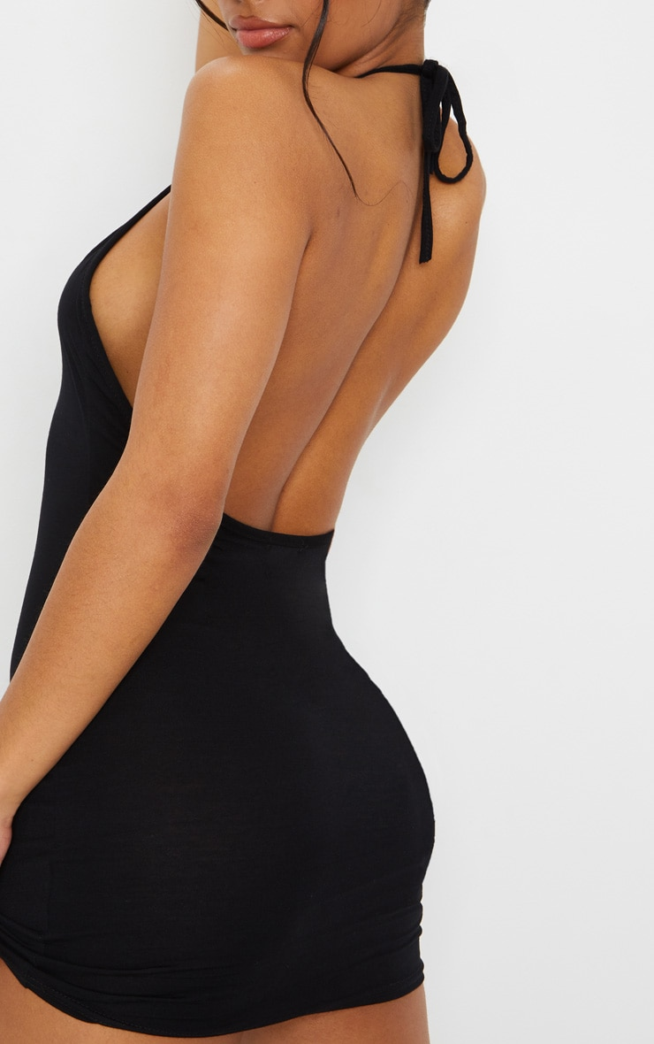 Basic Black Halterneck Bodycon Dress 4
