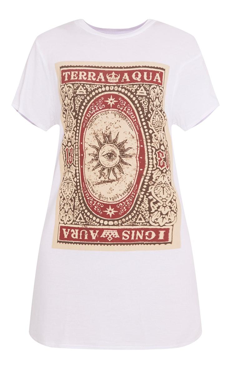 Robe t-shirt blanche imprimé carte de tarot 3