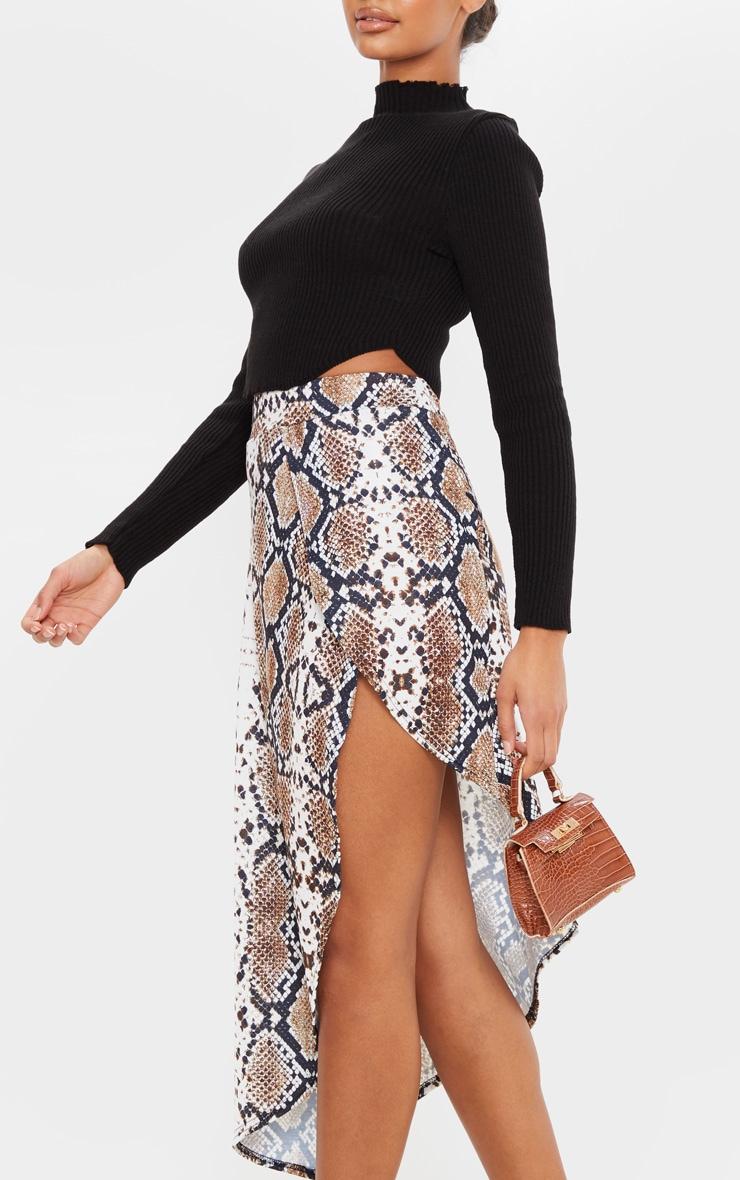 Tan Snake Print Asymmetric Skirt 5