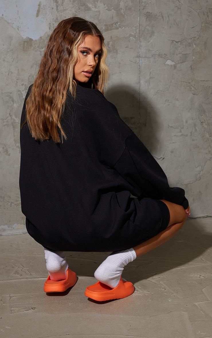 Black Illustration Silhouette Oversized Sweat Jumper Dress 2