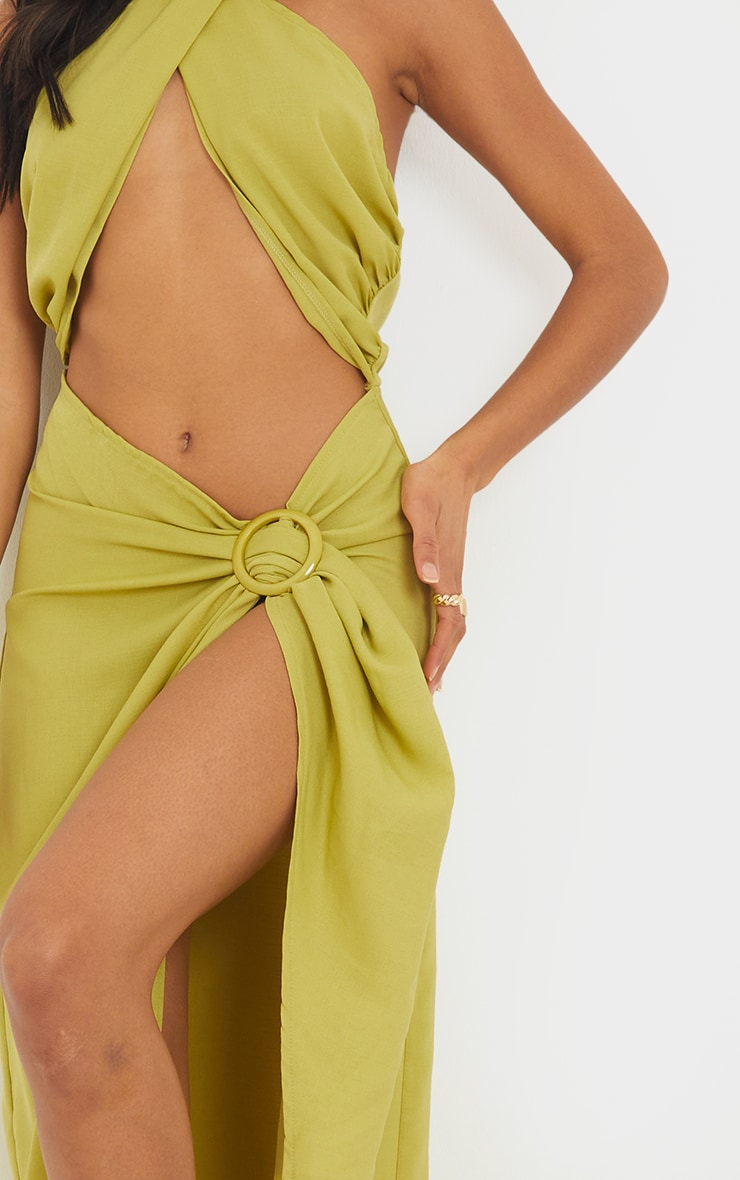 Olive Woven Ring Detail Cut Out Halterneck Midaxi Dress 4