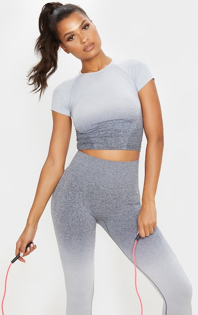 Grey Marl Ombre Seamless Cropped T-Shirt