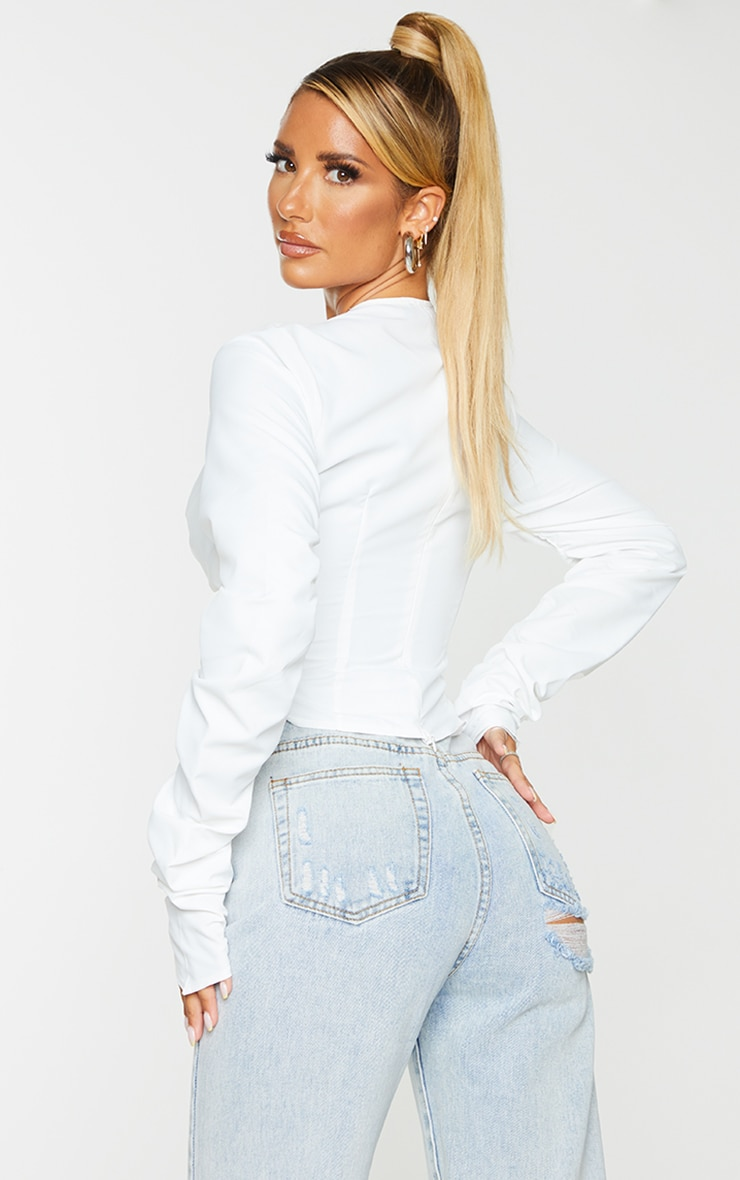 White Woven Long Sleeve Lace Up Side Top 2