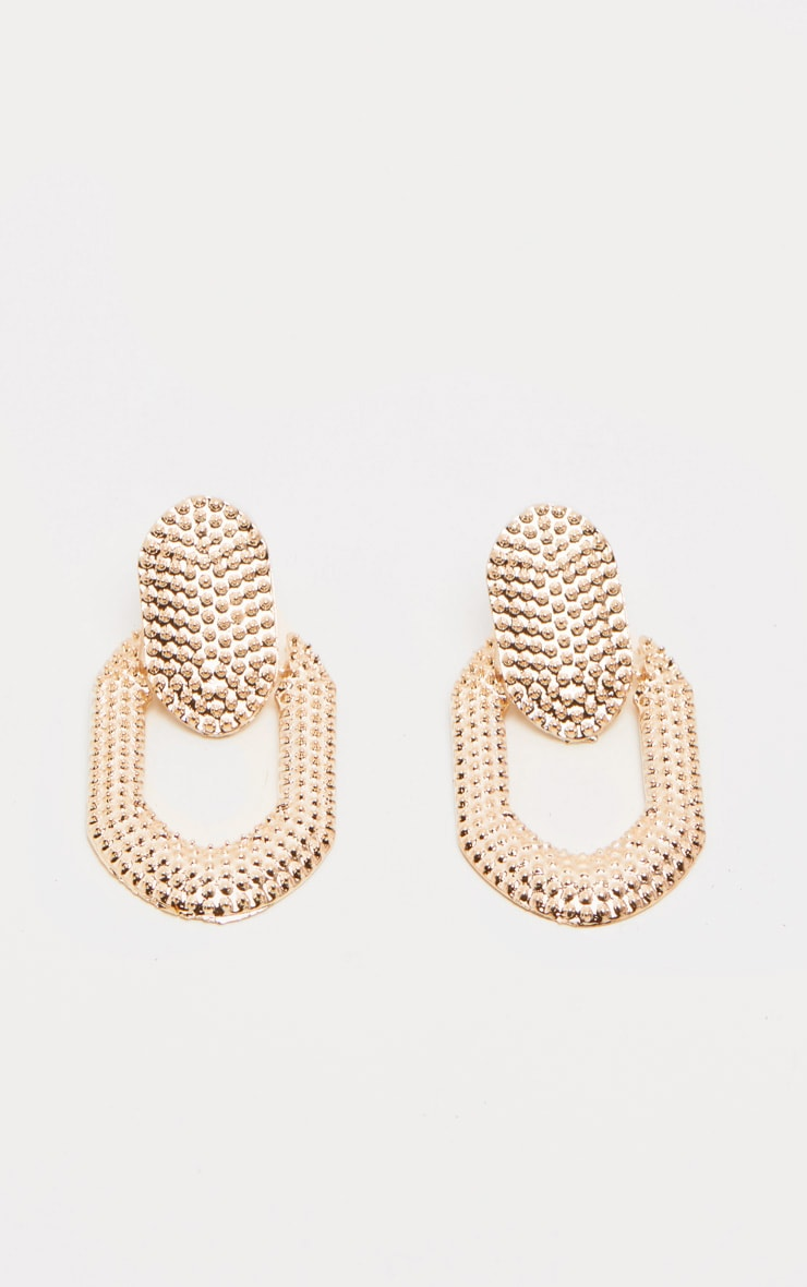 Gold Bobble Texture Door Knocker Earrings 1