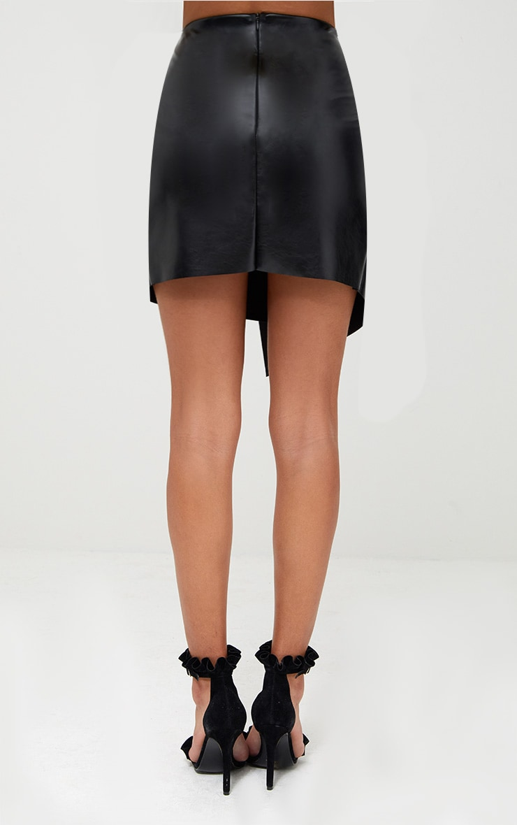 Black Faux Leather Ring Belt Mini Skirt 4