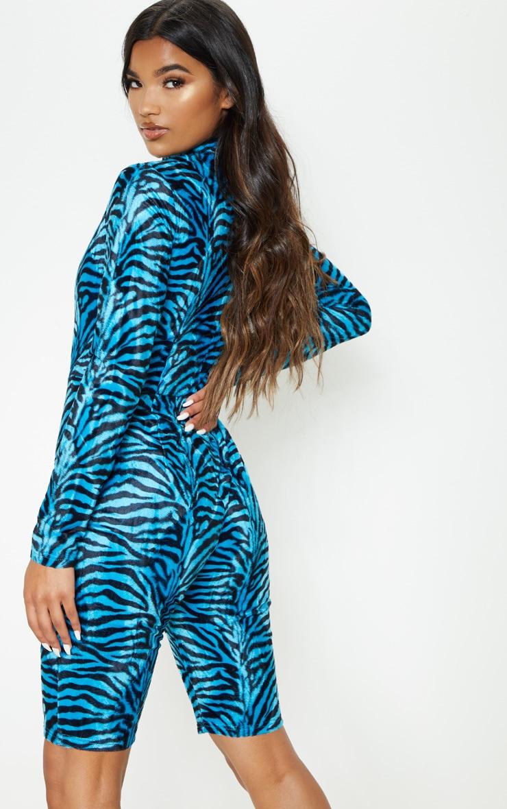 Blue Zebra Print Brushed Velvet Unitard 2