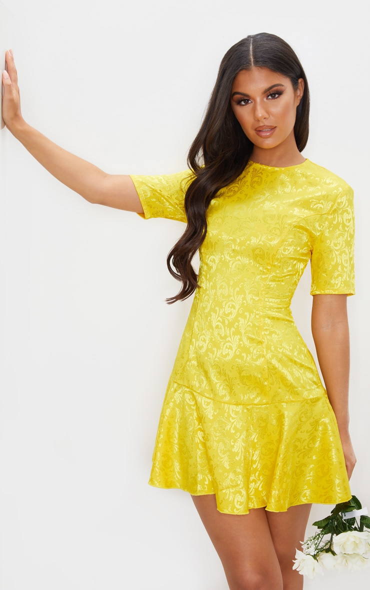 Yellow Jacquard Frill Hem Short Sleeve Bodycon Dress 1
