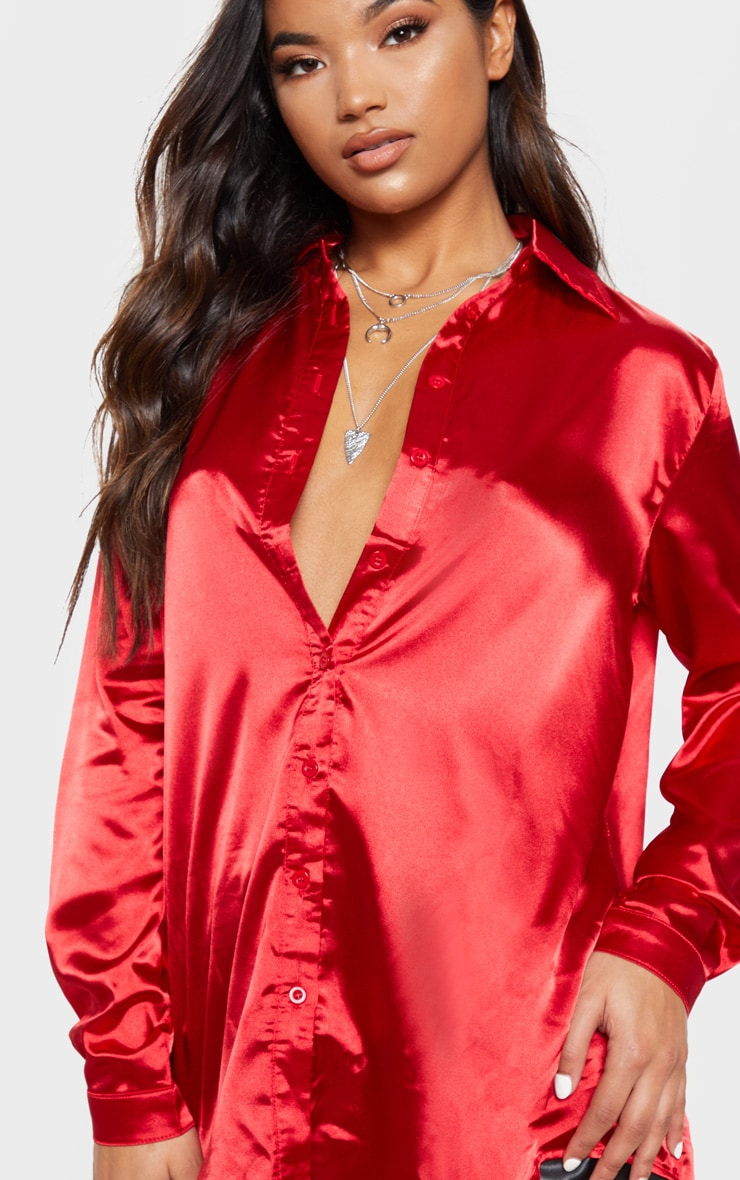 Red Satin Button Front Shirt 5