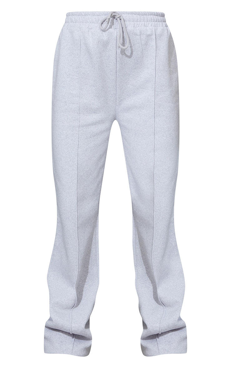 Ash Grey Seam Detail Wide Leg Joggers 5