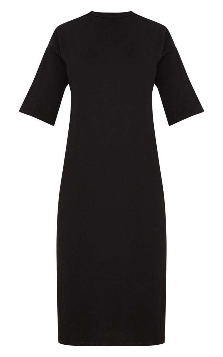 Black Oversized Midi T Shirt Dress 3