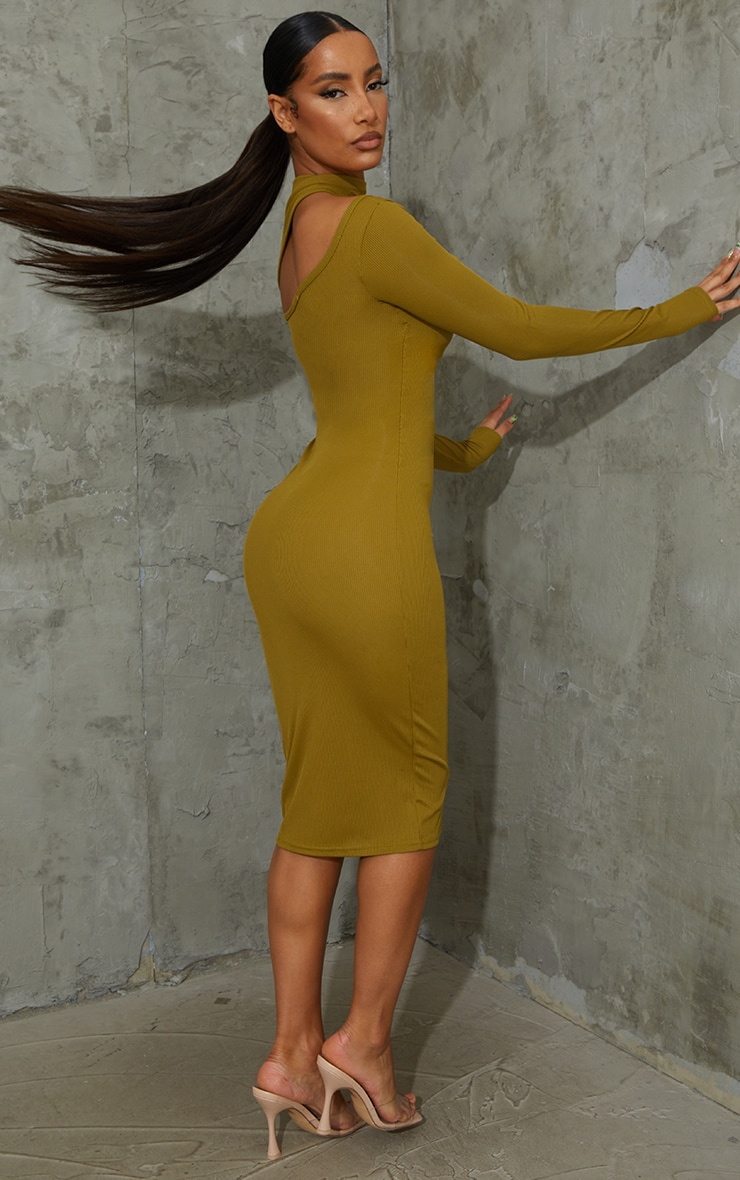 Olive Ribbed High Neck Cut Out Detail Long Sleeve Midi Dress 2