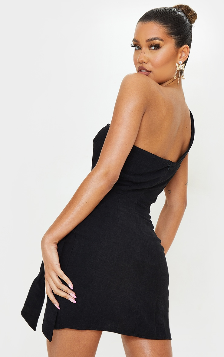 Black Linen Look One Shoulder Knot Detail Wrap Skirt Bodycon Dress 2