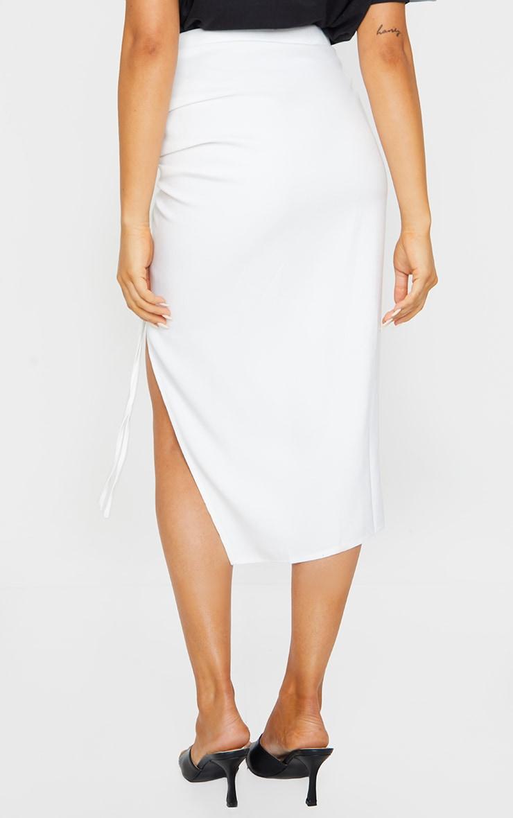 White Woven Ruched Detail Midi Skirt 3