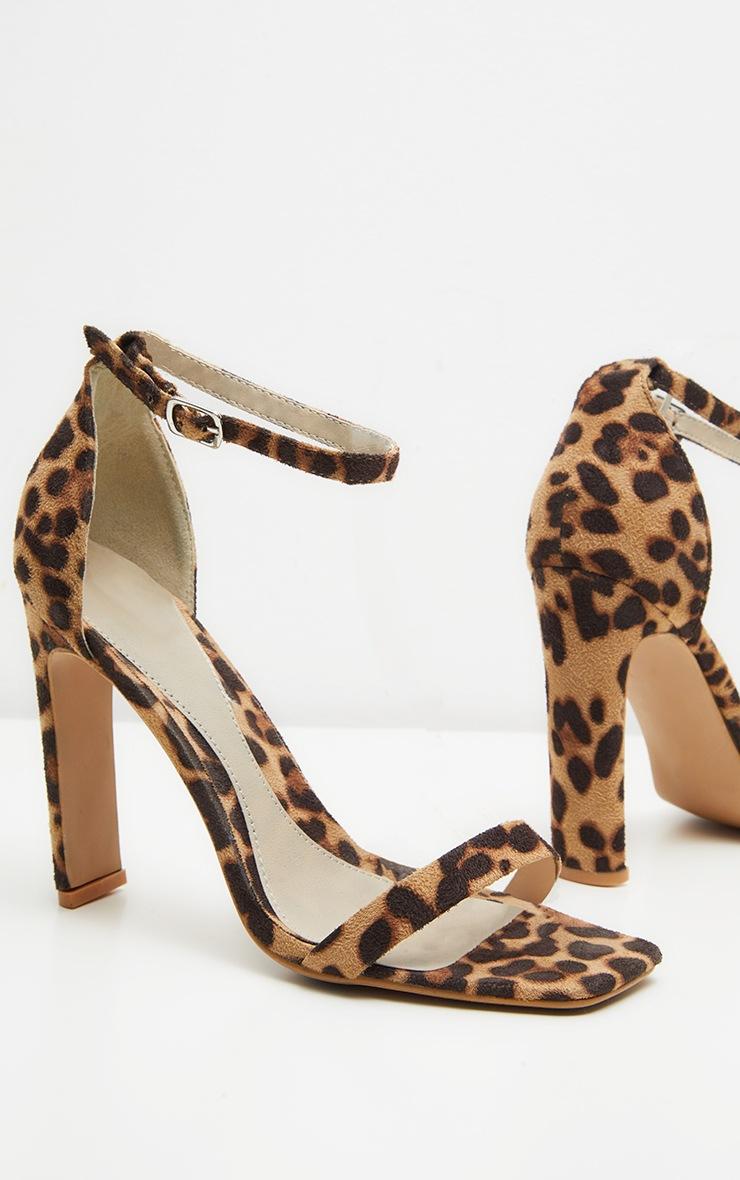 Leopard Square Toe Flat Heel Sandal 3