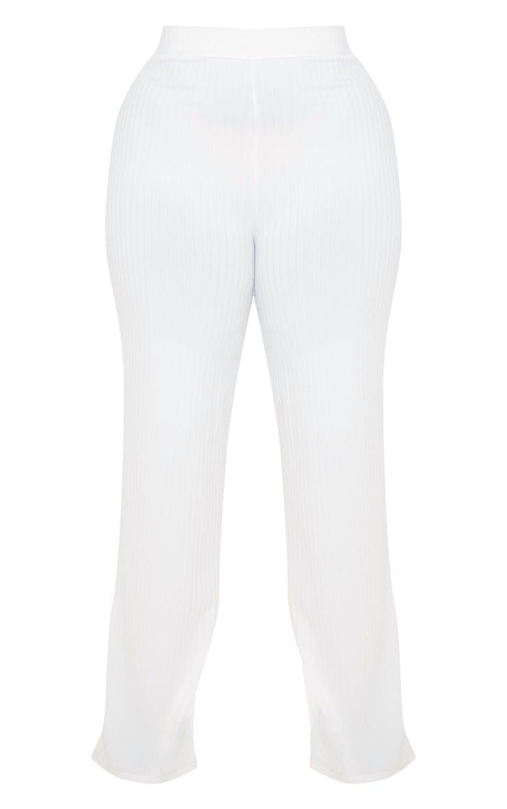 Plus Cream Rib Wide Leg Pants 3