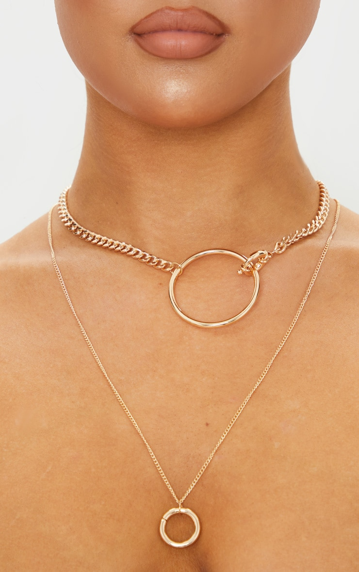 Gold Multi Hoop Layering Necklace 3