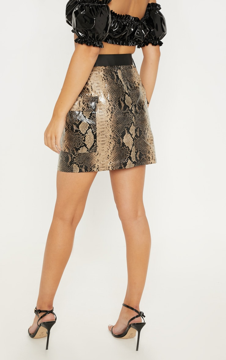 Brown Faux Leather Snakeskin Belted Mini Skirt 4