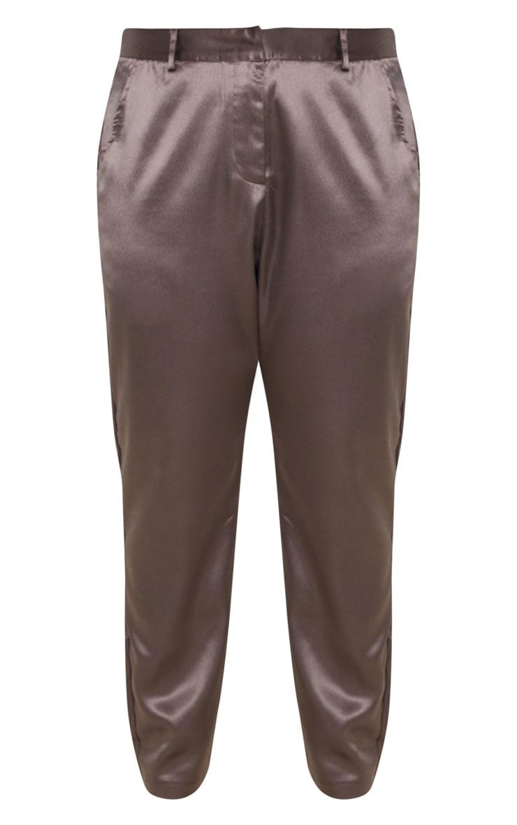 Plus Mocha Satin Pocket Detail Straight Leg Pants 3