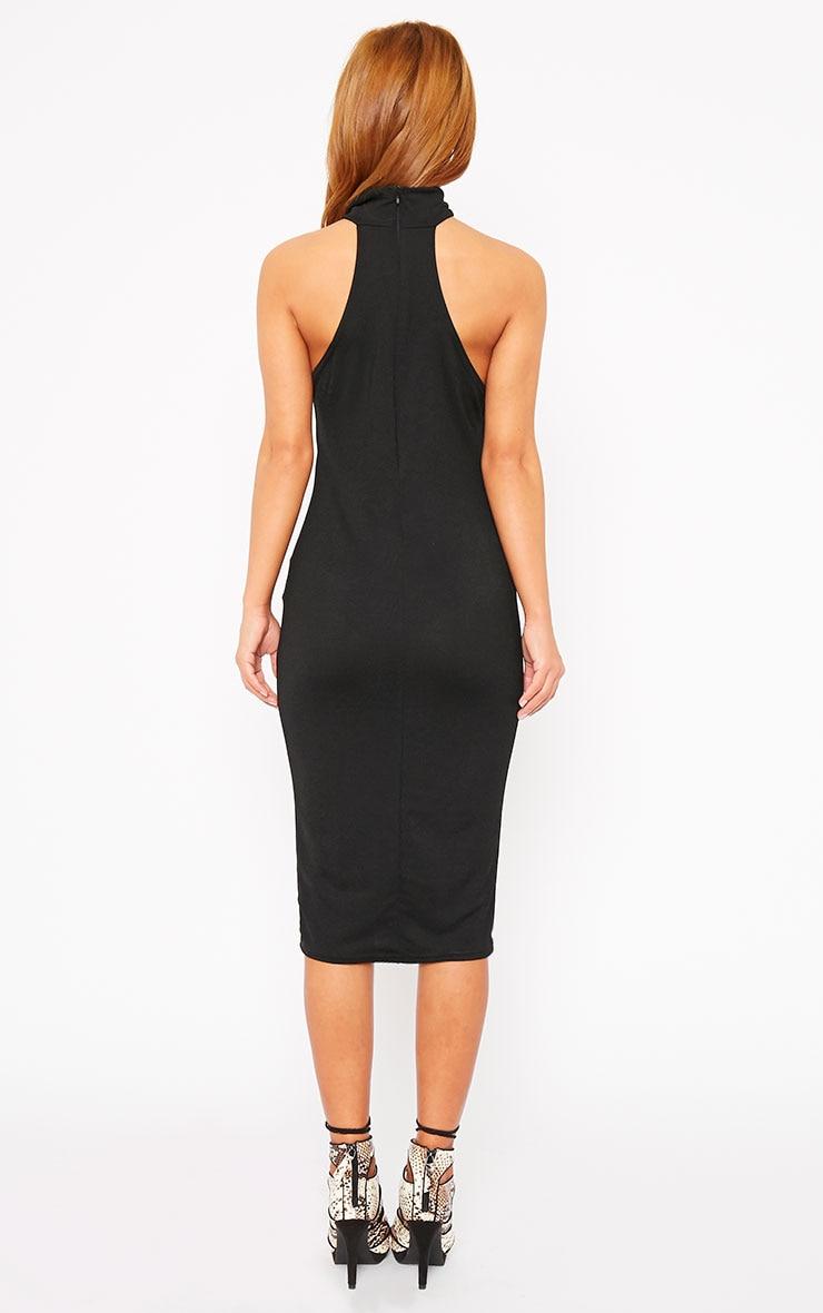 Sara Black Polo Neck Midi Dress 2