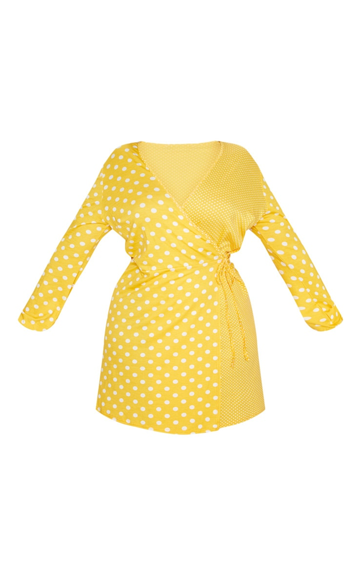 Plus Yellow Contrast Polkadot Wrap Dress 3